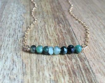 Emerald Bracelet - Emerald Jewelry - Green Genuine Emerald Bracelet - May Birthstone Jewelry - Dainty Emerald Bracelet - May Birthstone