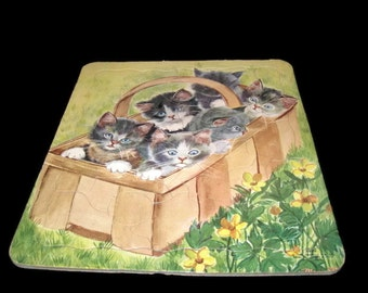 Vintage Kitten Puzzle, Collectible, Inlay Puzzles, Home Decor, Vintage Toy, Puzzle, Collector Puzzle, Vintage Puzzle, Kitten Puzzle