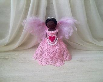 Night light for baby. Crochet lamp. Night light crochet angel. Crochet angel keeper for baby. The lighting for the bedroom. Angel statue