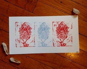 Tranquil Flowers - Handmade Linocut Print