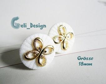 Ear plug knob white creme golden loop