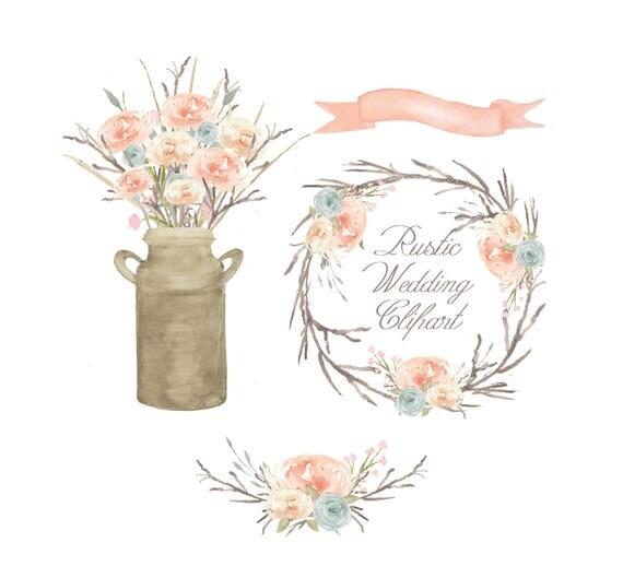 watercolor floral clipart  bouquet clipart  flower rustic wedding clip art free rustic wedding clipart clear background