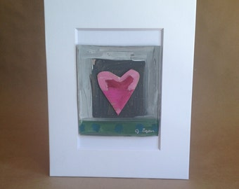Collage Painting- Rumpled Heart #1