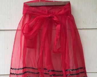Vintage Red Chiffon Apron   1960s Hostess Apron   One Size