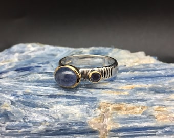 Iolite with Tanzanite Ring // 925 Sterling Silver with Gold Accent // Hand Cast // Iolite Tanzanite Ring // Size 8, 9