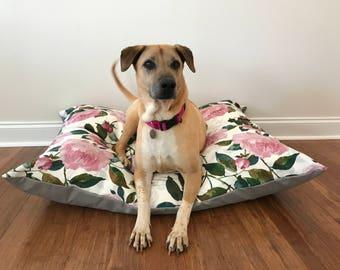 Floral Dog Bed Cover, Durable Dog Bed Cover, Pink Dog bed cover, Flowers dog bed cover, Girl dog bed cover, Designer Dog bed
