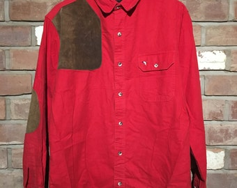 Vintage Long Sleeve Red Shirt with Suede Patches (XL) Abercrombie & Fitch