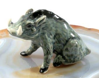 Wild boar  - handpainted porcelain figurine -  1968