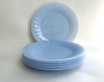 Set of Six Fire King Delphite Blue Dessert Plates