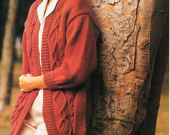 ladies cable belted cardigan knitting pattern pdf chunky womens cable jacket with belt Vintage 28-40inch chunky bulky 12ply instant Download