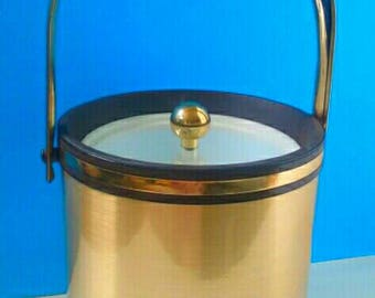 Mid Century Morgan Ice Bucket With Clear Acrylic Top, Vintage, Black/Gold, Retro Ice Bucket, 1950s Style Bar Accessory.