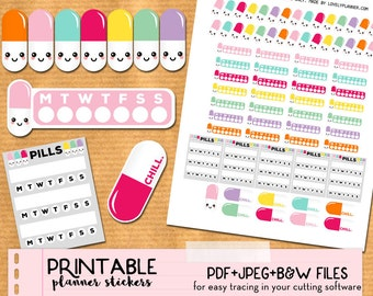 Kawaii Pills medication intake tracker Stickers set for Happy Planner - Printable Planner stickers, Print and Cut stickers