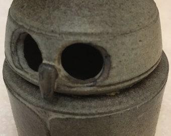 Ceramic owl trivet box-signed