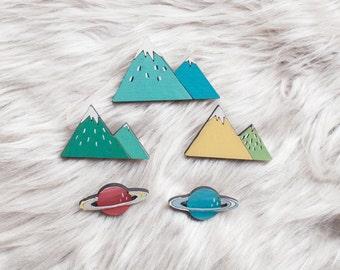 Mountain Brooch Pin, Wooden Planet Brooch, Wooden Brooch, Cosmic Jewelry