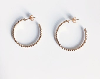 Round earrings, hoop earrings - gold 750/000 - gold plated earrings