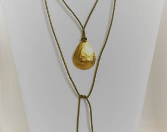Leather and Gold Tear Pendant Necklace