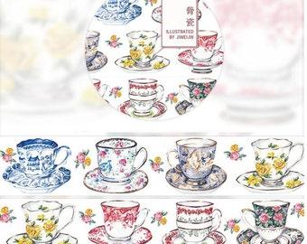 Fine bone china cups Washi Tape  /Japanese Washi Tape / Deco tape TZ1588