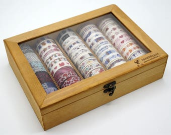 Wooden Washi tape Storage Case / Masking Tape Organizer / Washi Tape Holder/Plastic Storage Box Cosmetic Case TZ1282