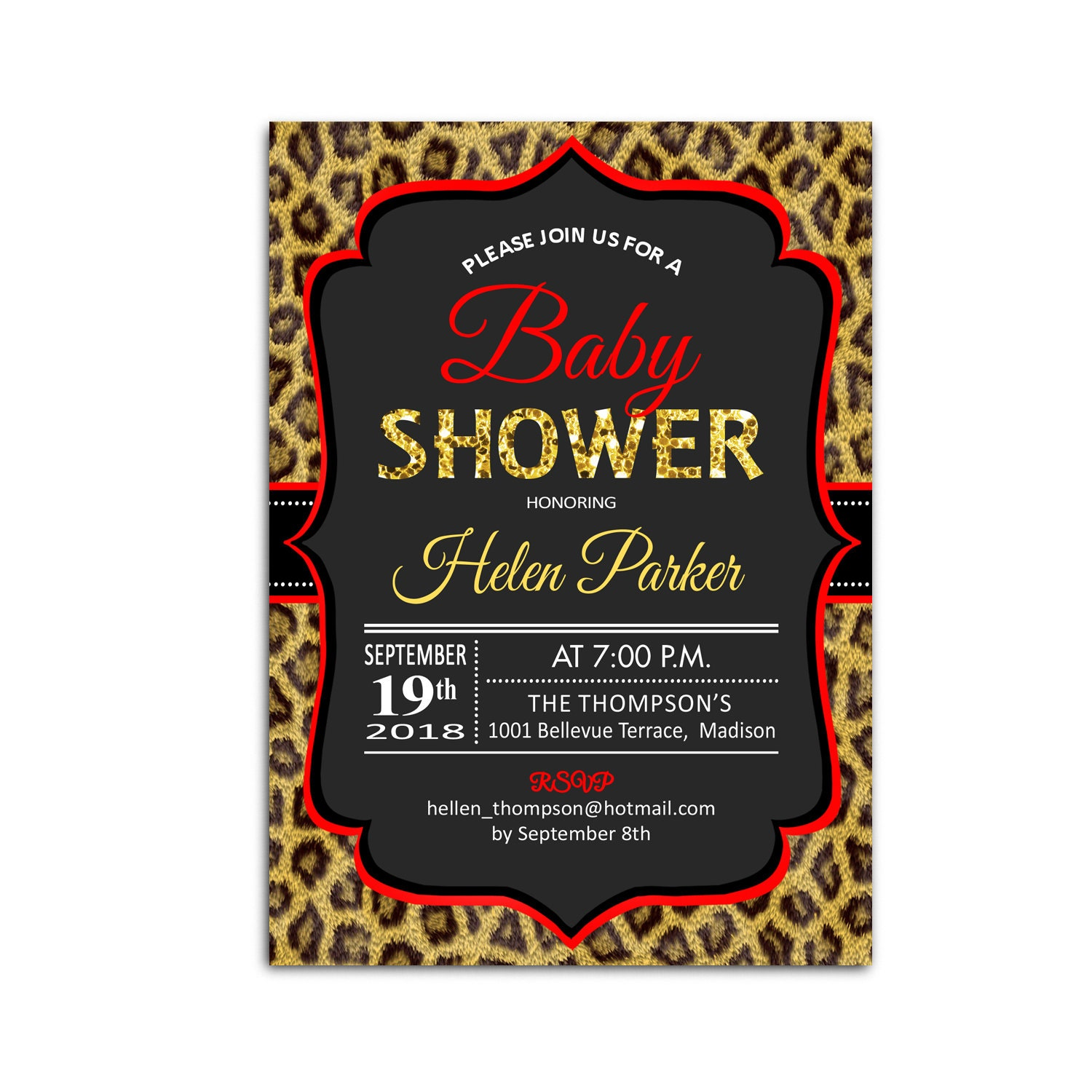 Leopard Print Baby Shower Invitations Its a Girl Leopard Print Baby ...