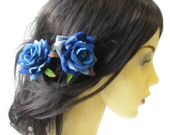 2 x Blue Rose Flower Hair Pins Vintage Rockabilly Clip Bridal 1950s Floral 1510