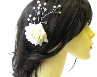 Large Ivory White Rose Flower Gypsophila Vine Hair Pin Bridal Silver Vtg 1519