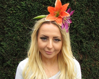 Large Orange Purple Lily Flower Fascinator Headpiece Headband Rockabilly 2037