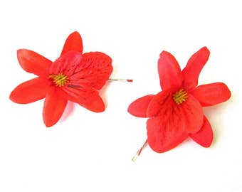 2 x Red Orchid Flower Hair Grips Clips Bridesmaid Bobby Pins Slides Hawaii 2126