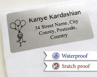 100 Custom Return Address Labels Personalized Silver FoilAddress Stickers [D]