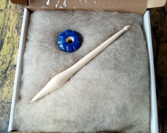 Medieval spindle set start create your set - spindle whorl + stick + wool, Medieval spindle/ drop spindle/ clay whorls