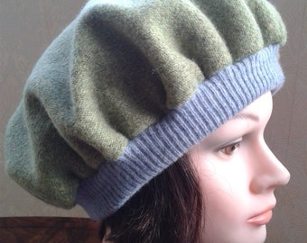 Women Boiled wool Green Beret-Pistachio Green Hat-Green beret with lining-Felted wool beret-Pure Wool Beret-Size M - L. ONE of a Kind.