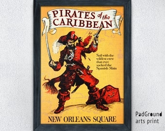 Disneyland Poster, Pirates of the Caribbean, Disney World, New Orleans Square, Disneyland Vintage, Home Decor, Wall Decor, Gift, Frame -21pg