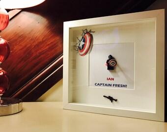 Captain America Gift -  Brick Frame - Personalised