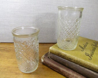 Set of Two (2) Small Pressed Glass Juice Glasses - Diamond Pattern