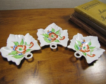 Set of Three (3) Small Leaf Shaped Dishes - Orange and Blue Flowers - Gold Accent - Made in Occupied Japan