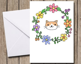 Floral Kitty A6 greetings card