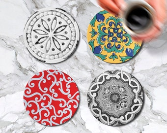Moroccan Coasters Set of 4 Round Glass Coaster Kitchen Decor Housewarming Gift Idea Cafe Accessories Bar Drink Coasters Mom Gift Birthday