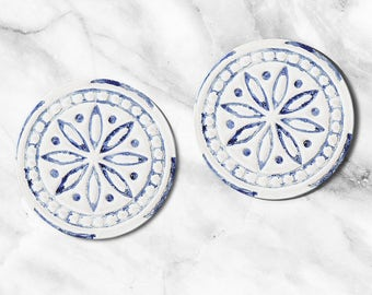 Blue Tile Coasters, Home and Living, Set of Coaster, Kitchen and Dining, Glass Coasters, Portugal Tile Coasters, Mom Gift, Housewarming Gift