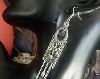 SALE !!! Bohemian dangle earrings with amethyst stone and feather charm