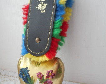 vintage signed Swiss decorative brass cow bell
