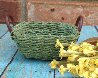 Miniature woven green basket with two handles | doll accessories | miniature decor scenes