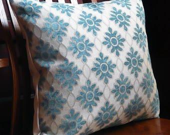 TEAL and CREAM WHITE Diamond Motif Decorative Pillows, set of two, throw pillow, 18 x 18
