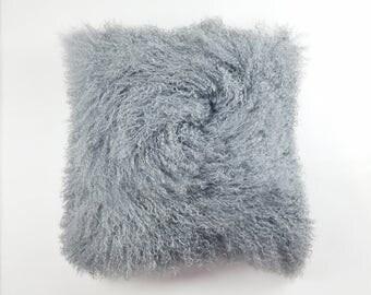 "24"" Square Tibetan / Mongolian Lamb Fur Pillow Grey"