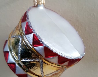 Blown Glass Toy Drum Christmas Tree Ornament Decoration or Bauble