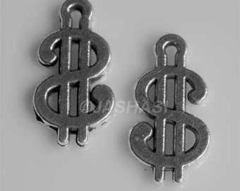 15 Dollar Sign Symbol Tibetan Silver Charms (381)