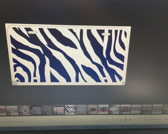Custom license plate waiting for you monogram. Black stripes.....Includes shipping