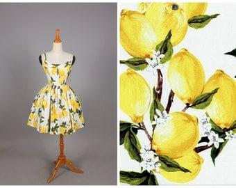 "Penelope Dress ""Freshly Squeezed"" Retro Lemon Fruit Print Yellow Lemons"