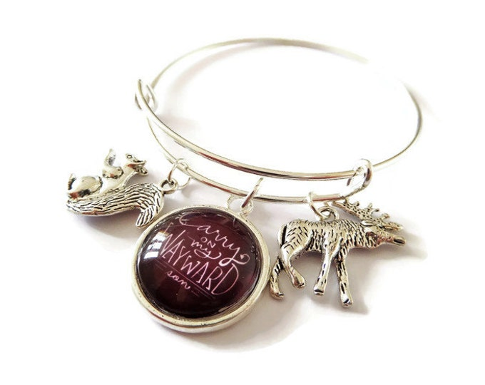 "SUPERNATURAL inspired 20mm glass dome "" carry on my wayward son "" 65mm silver tone bangle winchester fan gift jewellery UK"