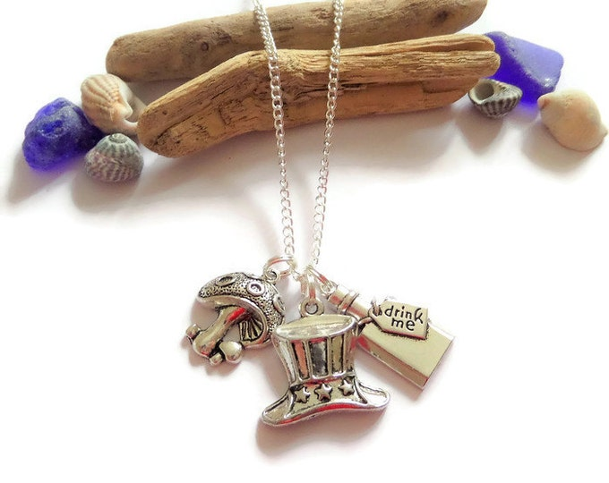 ALICE in WONDERLAND inspired silver Mad Hatters Tea Party charm necklace fan gift jewellery Uk