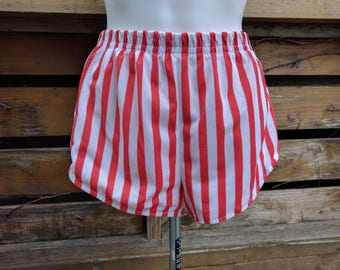 Vintage 1970's Red and White Striped Nylon Jogging Shorts