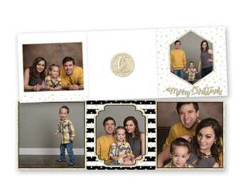 INSTANT DOWNLOAD - 5x5 Christmas Accordion Card, Tri-fold Card - Photoshop Template (id025)